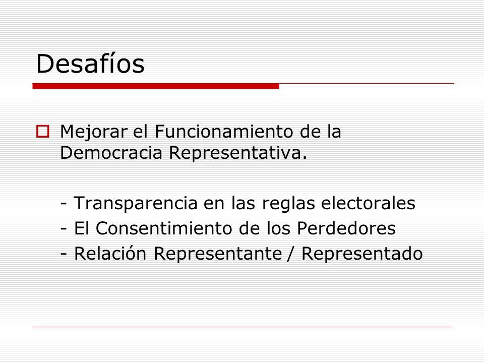 Desafíos Mejorar el Funcionamiento de la Democracia Representativa. - Transparencia en las reglas electorales - El Consentimiento de los Perdedores -