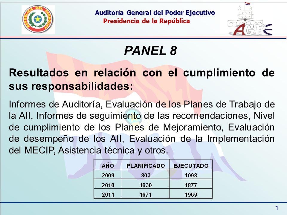 1 Auditoría General del Poder Ejecutivo Presidencia de la República PANEL 8 Resultados en relación con el cumplimiento de sus responsabilidades: Infor