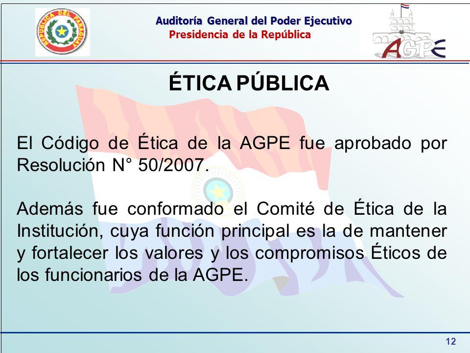12 Auditoría General del Poder Ejecutivo Presidencia de la República ÉTICA PÚBLICA El Código de Ética de la AGPE fue aprobado por Resolución N° 50/200