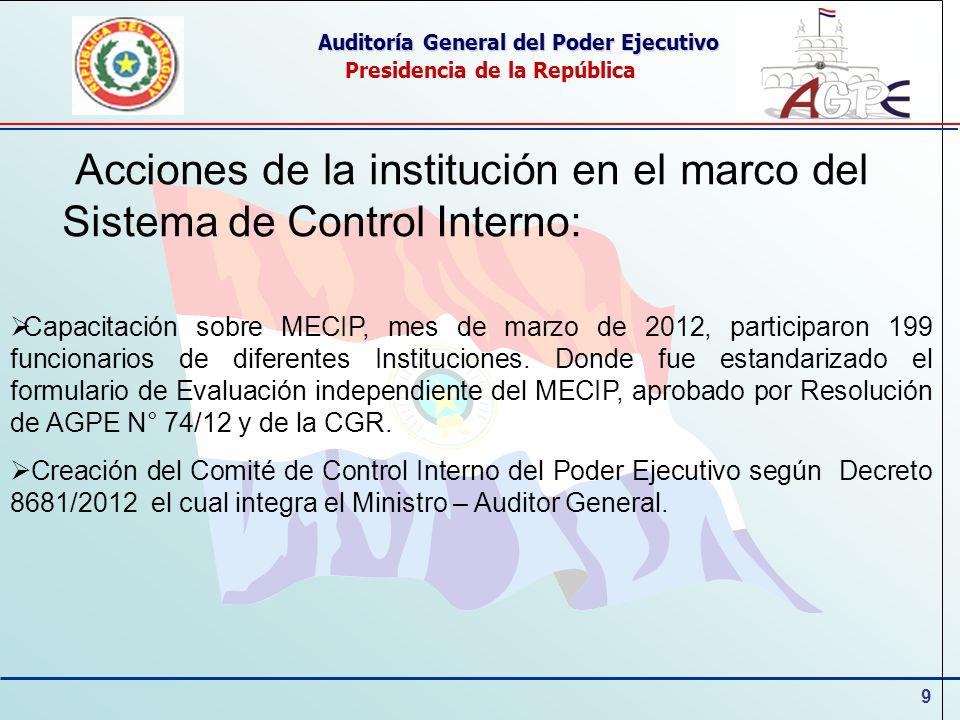 9 Auditoría General del Poder Ejecutivo Presidencia de la República Acciones de la institución en el marco del Sistema de Control Interno: Capacitació