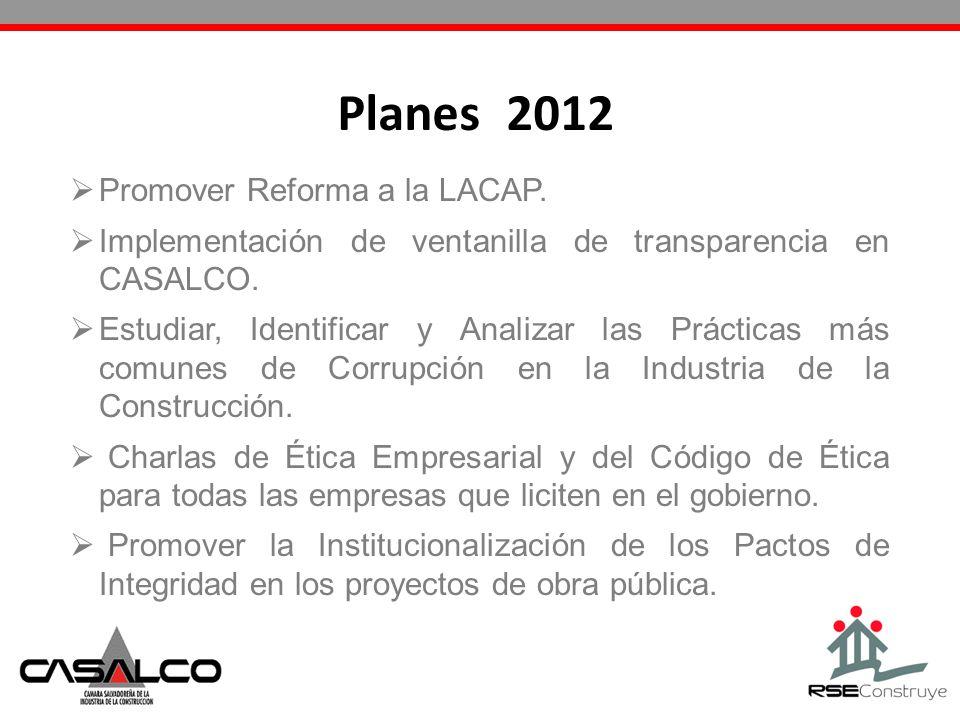 Promover Reforma a la LACAP. Implementación de ventanilla de transparencia en CASALCO. Estudiar, Identificar y Analizar las Prácticas más comunes de C