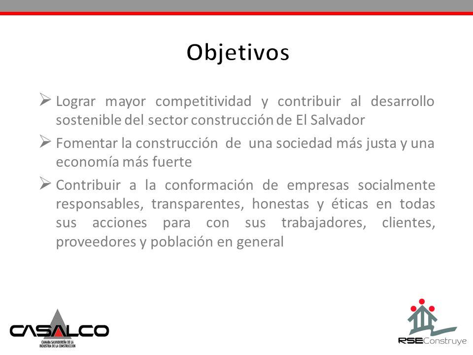 Lograr mayor competitividad y contribuir al desarrollo sostenible del sector construcción de El Salvador Fomentar la construcción de una sociedad más
