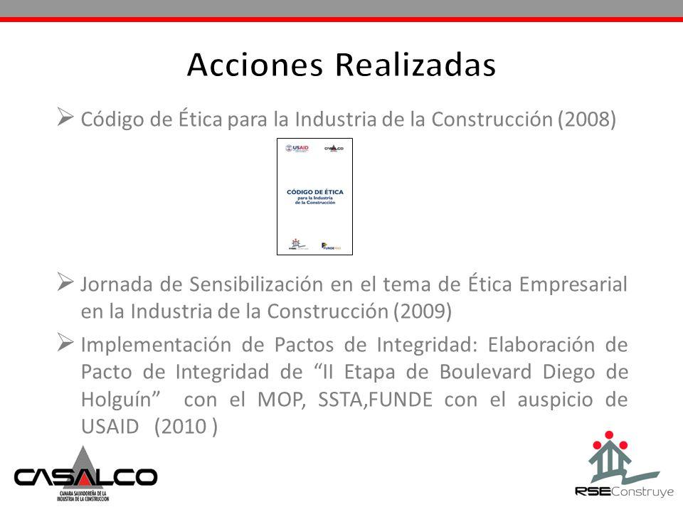 Código de Ética para la Industria de la Construcción (2008) Jornada de Sensibilización en el tema de Ética Empresarial en la Industria de la Construcc