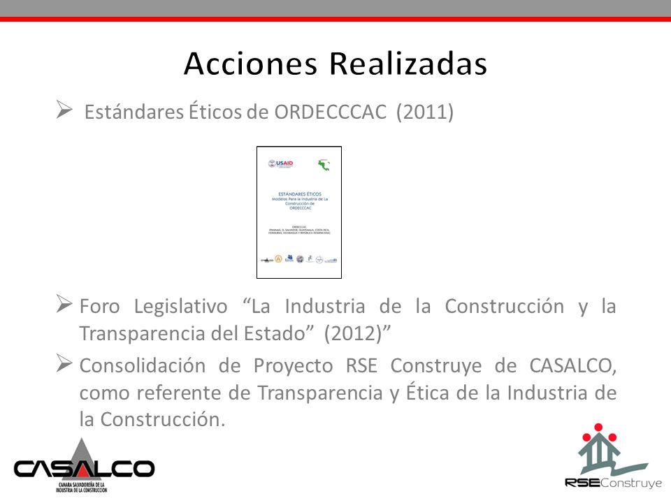 Estándares Éticos de ORDECCCAC (2011) Foro Legislativo La Industria de la Construcción y la Transparencia del Estado (2012) Consolidación de Proyecto