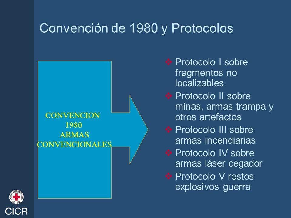 Convención de 1980 y Protocolos Protocolo I sobre fragmentos no localizables Protocolo II sobre minas, armas trampa y otros artefactos Protocolo III s