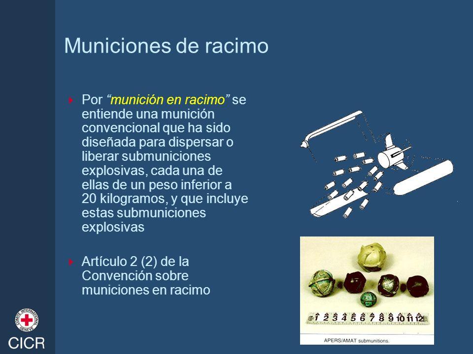 Municiones de racimo Por munición en racimo se entiende una munición convencional que ha sido diseñada para dispersar o liberar submuniciones explosiv