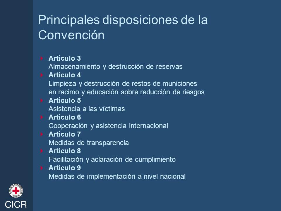 Principales disposiciones de la Convención Artículo 3 Almacenamiento y destrucción de reservas Artículo 4 Limpieza y destrucción de restos de municion