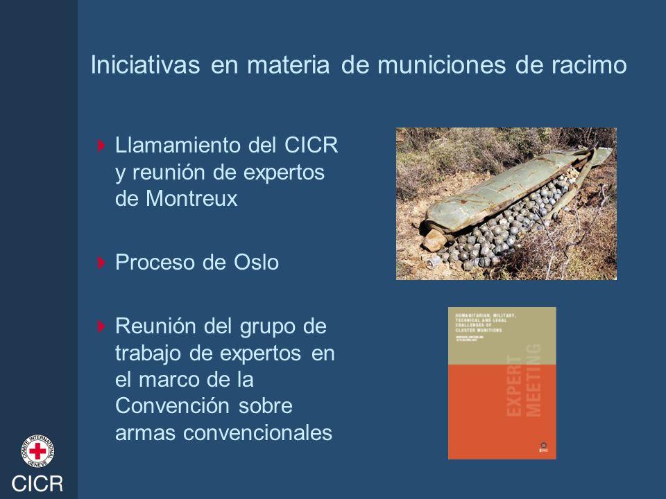 Iniciativas en materia de municiones de racimo Llamamiento del CICR y reunión de expertos de Montreux Proceso de Oslo Reunión del grupo de trabajo de