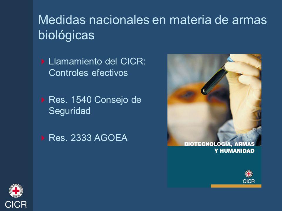 Medidas nacionales en materia de armas biológicas Llamamiento del CICR: Controles efectivos Res. 1540 Consejo de Seguridad Res. 2333 AGOEA