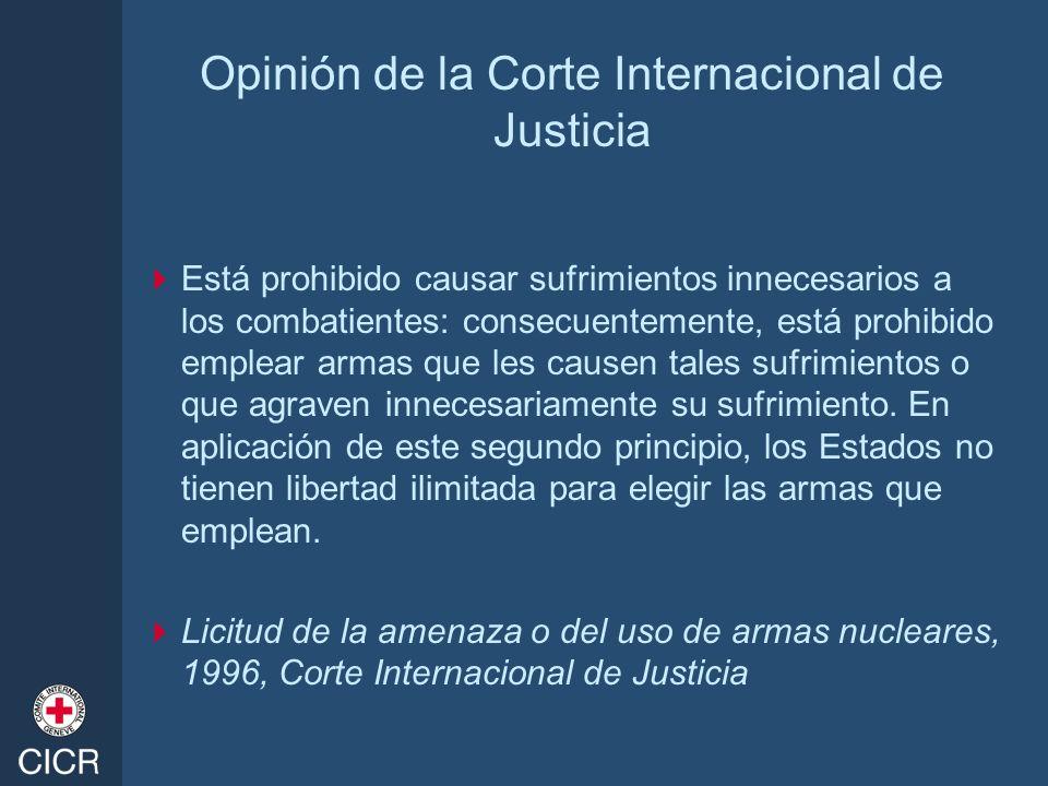 Opinión de la Corte Internacional de Justicia Está prohibido causar sufrimientos innecesarios a los combatientes: consecuentemente, está prohibido emp