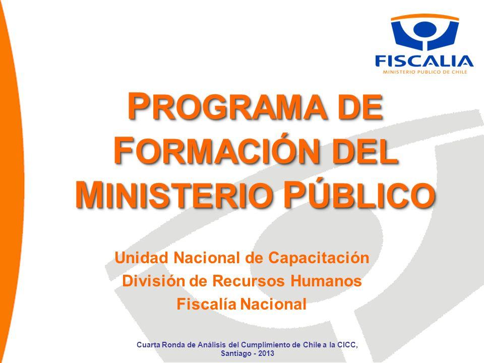 P ROGRAMAS DE F ORMACIÓN 1.Programas Regionales 2.Programa Fiscalía Nacional 3.Programa Centralizado Cuarta Ronda de Análisis del Cumplimiento de Chile a la CICC, Santiago - 2013