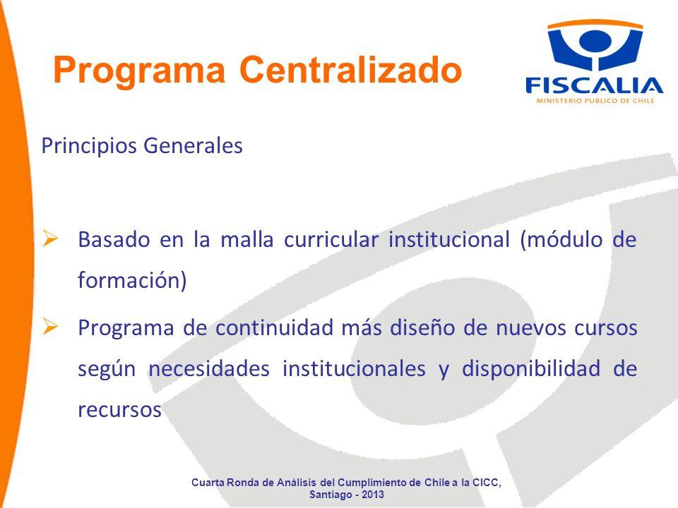 Programa Centralizado Principios Generales Continuidad Jornadas de UE (inducción y especialidad) Cumplimiento de Indicadores de Gestión: Cobertura Utilidad Aprendizaje Cuarta Ronda de Análisis del Cumplimiento de Chile a la CICC, Santiago - 2013