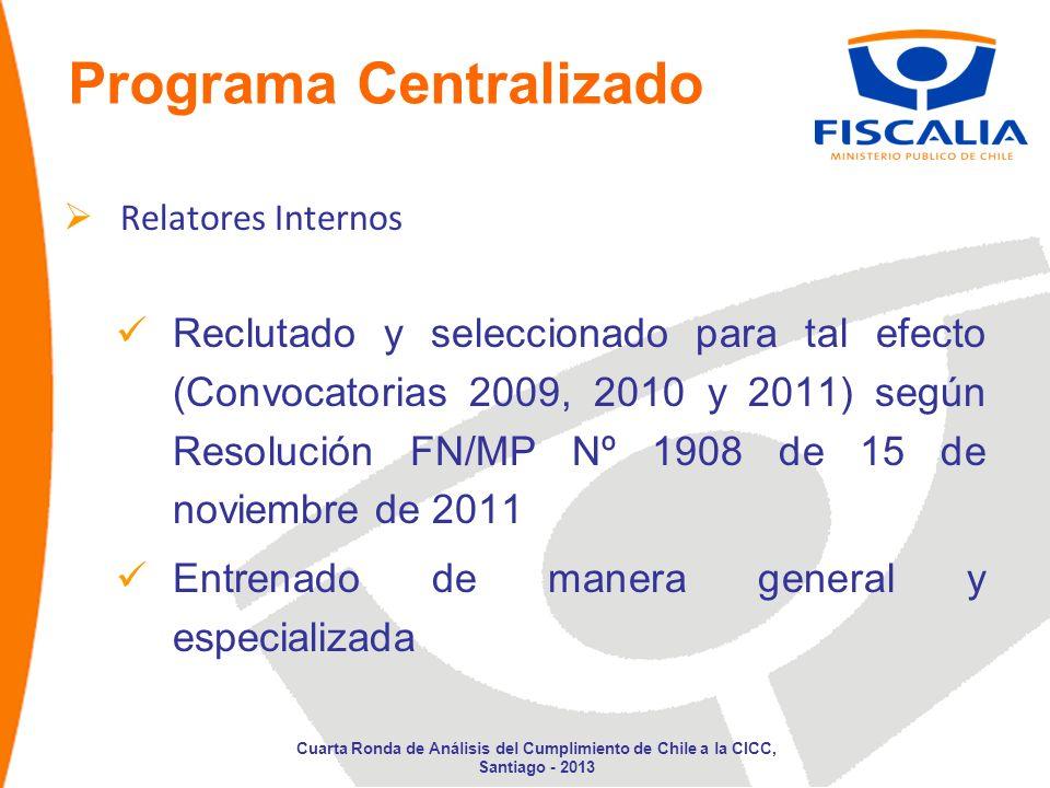 Programa Centralizado Relatores Internos Reclutado y seleccionado para tal efecto (Convocatorias 2009, 2010 y 2011) según Resolución FN/MP Nº 1908 de