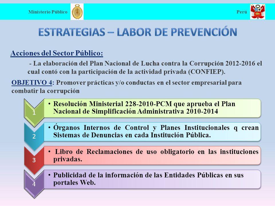 Principios anti-soborno y anti-corrupción Ministerio Público Perú Prohibición de hacer, prometer o autorizar pagos o entregas de objetos de valor a servidores públicos.