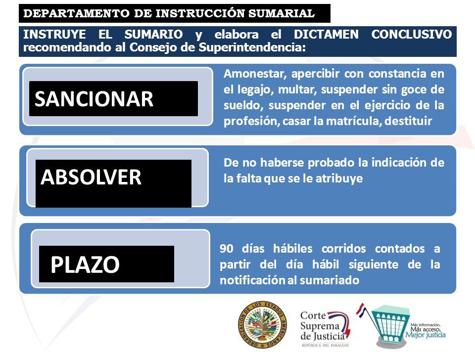 INSTRUYE EL SUMARIO y elabora el DICTAMEN CONCLUSIVO recomendando al Consejo de Superintendencia: DEPARTAMENTO DE INSTRUCCIÓN SUMARIAL SANCIONAR ABSOL