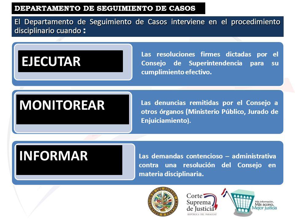 El Departamento de Seguimiento de Casos interviene en el procedimiento disciplinario cuando El Departamento de Seguimiento de Casos interviene en el p
