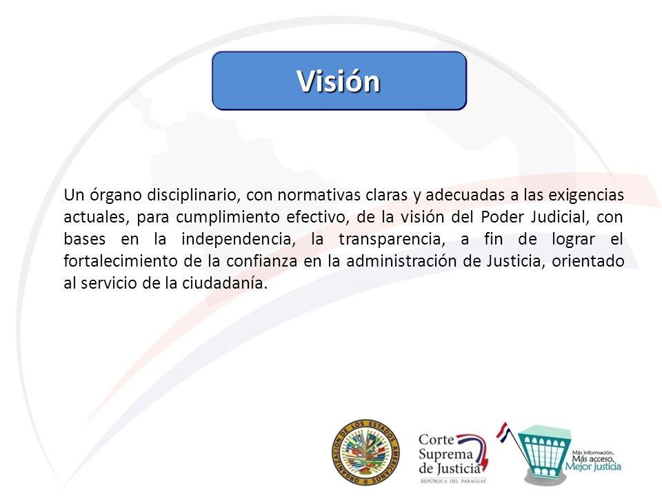 Visión Un órgano disciplinario, con normativas claras y adecuadas a las exigencias actuales, para cumplimiento efectivo, de la visión del Poder Judici