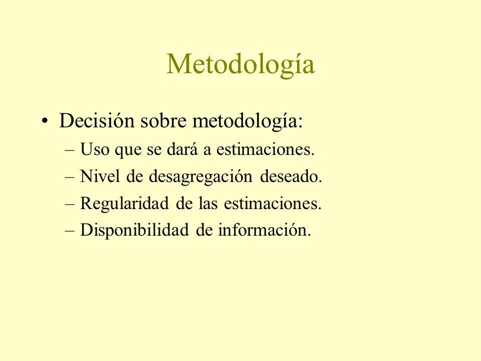 Metodología Decisión sobre metodología: –Uso que se dará a estimaciones. –Nivel de desagregación deseado. –Regularidad de las estimaciones. –Disponibi