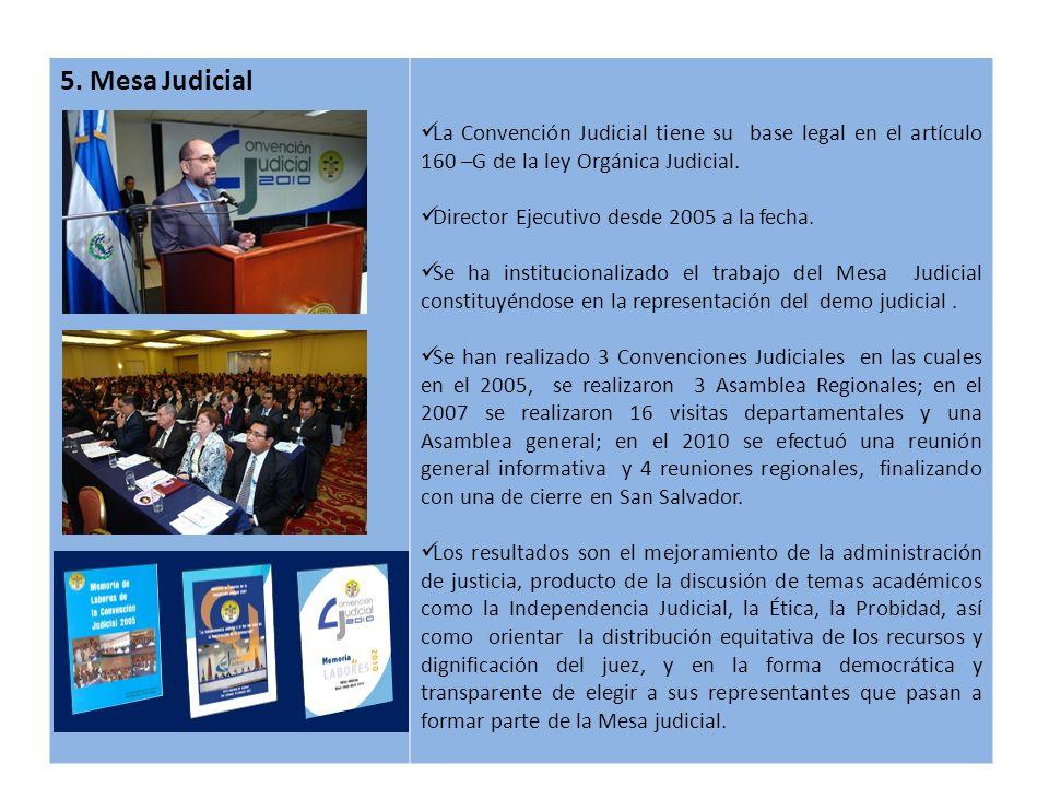 5. Mesa Judicial La Convención Judicial tiene su base legal en el artículo 160 –G de la ley Orgánica Judicial. Director Ejecutivo desde 2005 a la fech