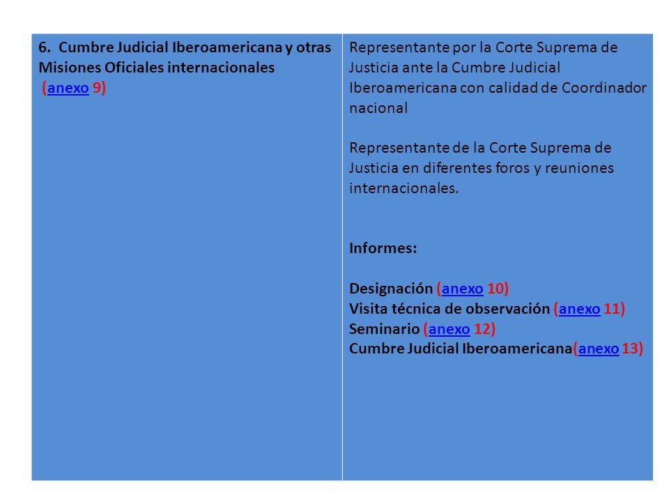 6. Cumbre Judicial Iberoamericana y otras Misiones Oficiales internacionales (anexo 9)anexo Representante por la Corte Suprema de Justicia ante la Cum
