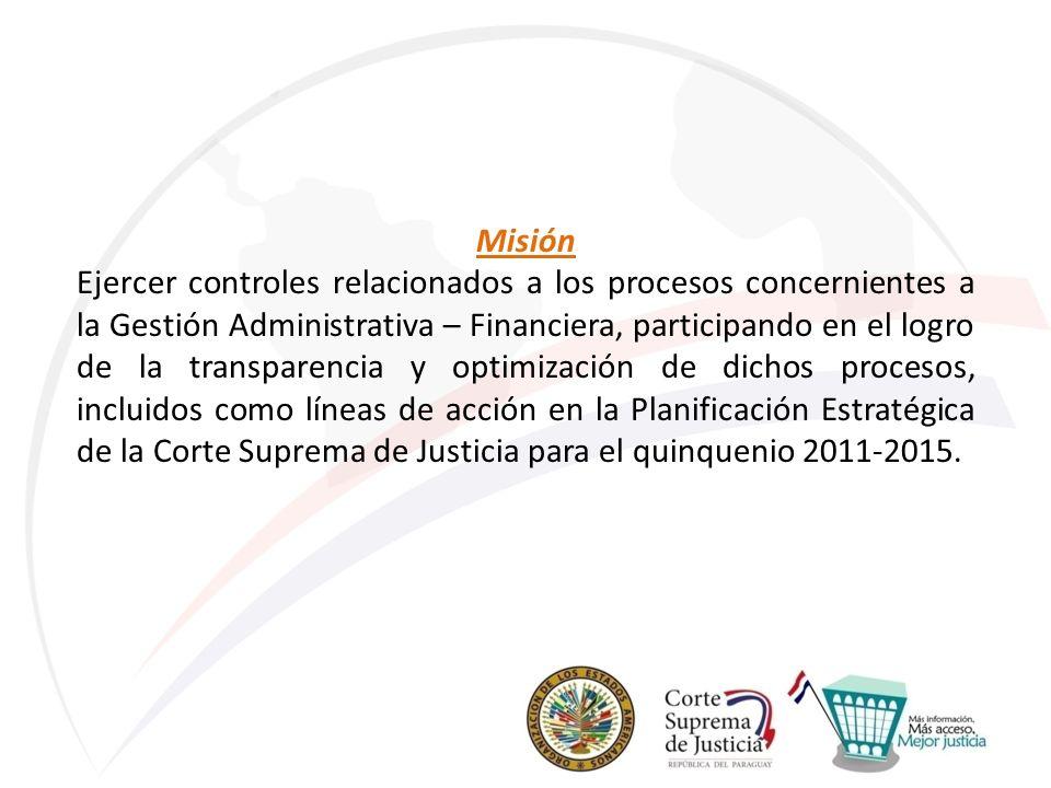 Misión Ejercer controles relacionados a los procesos concernientes a la Gestión Administrativa – Financiera, participando en el logro de la transparen