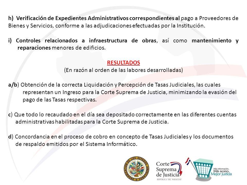 h) Verificación de Expedientes Administrativos correspondientes al pago a Proveedores de Bienes y Servicios, conforme a las adjudicaciones efectuadas