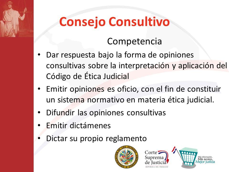 Consejo Consultivo Competencia Dar respuesta bajo la forma de opiniones consultivas sobre la interpretación y aplicación del Código de Ética Judicial