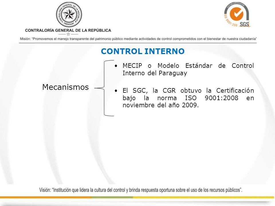 MECIP o Modelo Estándar de Control Interno del Paraguay El SGC, la CGR obtuvo la Certificación bajo la norma ISO 9001:2008 en noviembre del año 2009.