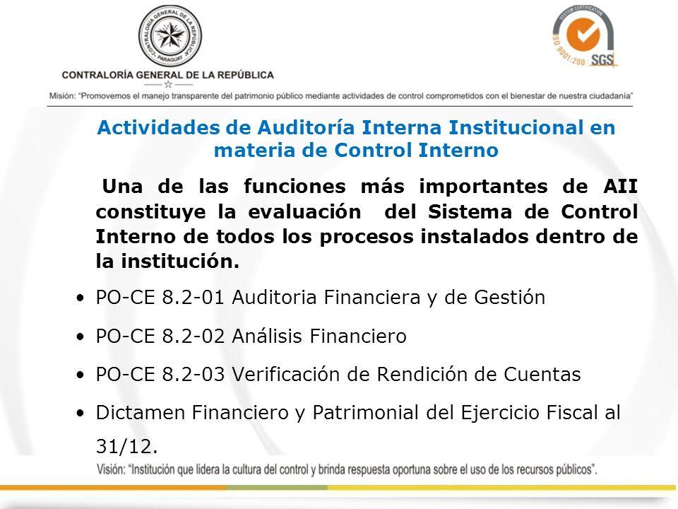 Actividades de Auditoría Interna Institucional en materia de Control Interno Una de las funciones más importantes de AII constituye la evaluación del