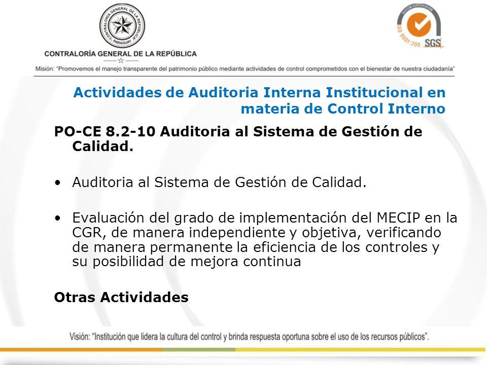 PO-CE 8.2-10 Auditoria al Sistema de Gestión de Calidad. Auditoria al Sistema de Gestión de Calidad. Evaluación del grado de implementación del MECIP