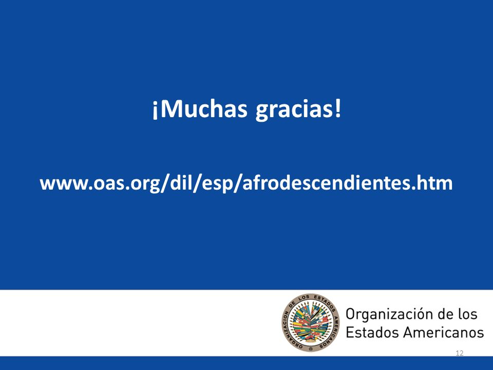 12 ¡Muchas gracias! www.oas.org/dil/esp/afrodescendientes.htm 12