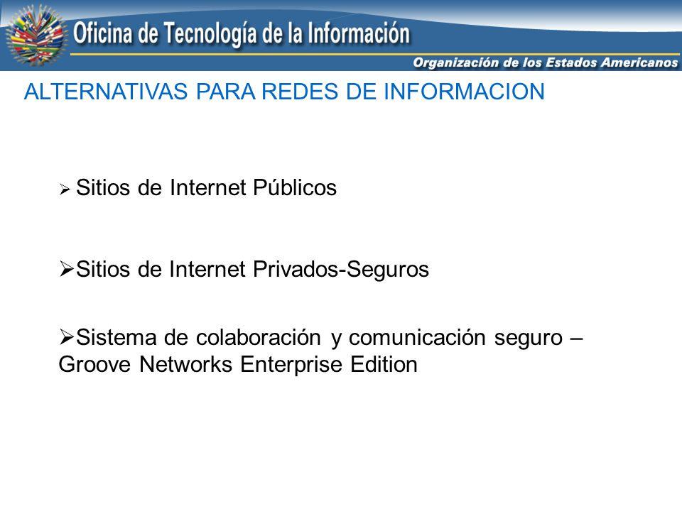 ALTERNATIVAS PARA REDES DE INFORMACION Sitios de Internet Públicos Sitios de Internet Privados-Seguros Sistema de colaboración y comunicación seguro –