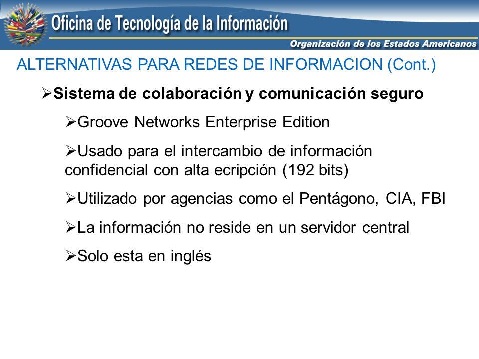 ALTERNATIVAS PARA REDES DE INFORMACION (Cont.) Sistema de colaboración y comunicación seguro Groove Networks Enterprise Edition Usado para el intercam