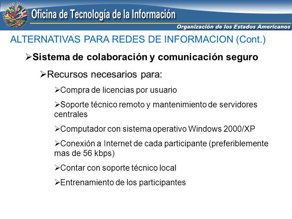 ALTERNATIVAS PARA REDES DE INFORMACION (Cont.) Sistema de colaboración y comunicación seguro Recursos necesarios para: Compra de licencias por usuario