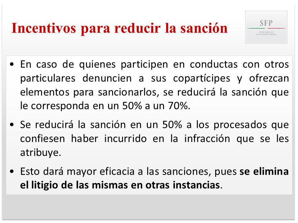 Incentivos para reducir la sanción En caso de quienes participen en conductas con otros particulares denuncien a sus copartícipes y ofrezcan elementos