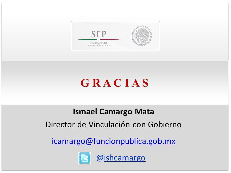 G R A C I A S Ismael Camargo Mata Director de Vinculación con Gobierno icamargo@funcionpublica.gob.mx @ishcamargo