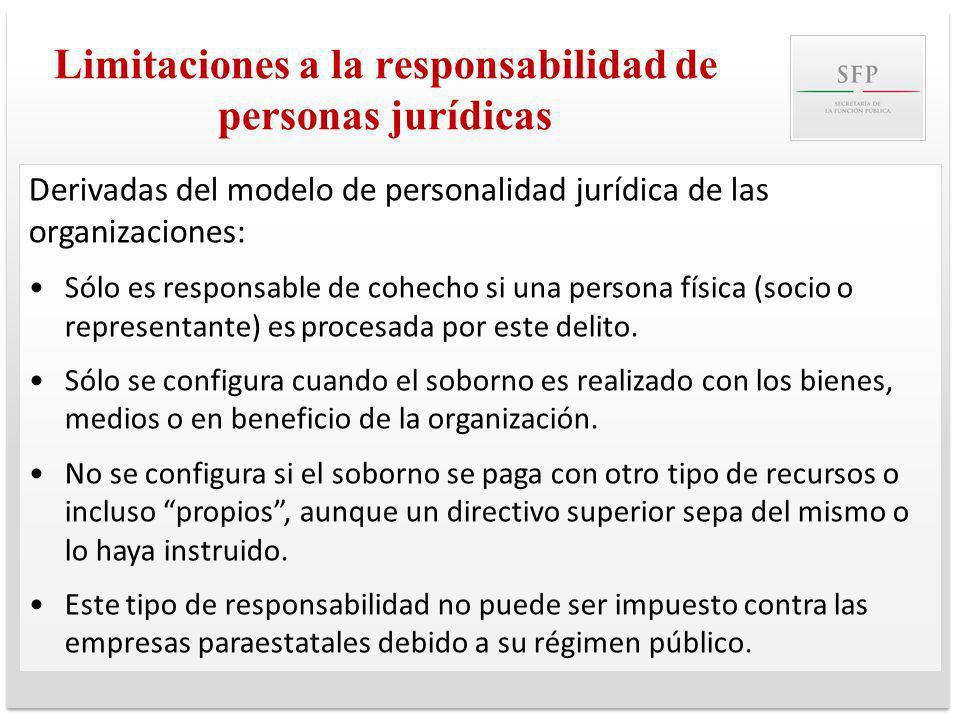 Limitaciones a la responsabilidad de personas jurídicas Derivadas del modelo de personalidad jurídica de las organizaciones: Sólo es responsable de co
