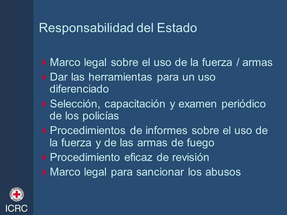 Responsabilidad del Estado Marco legal sobre el uso de la fuerza / armas Dar las herramientas para un uso diferenciado Selección, capacitación y exame