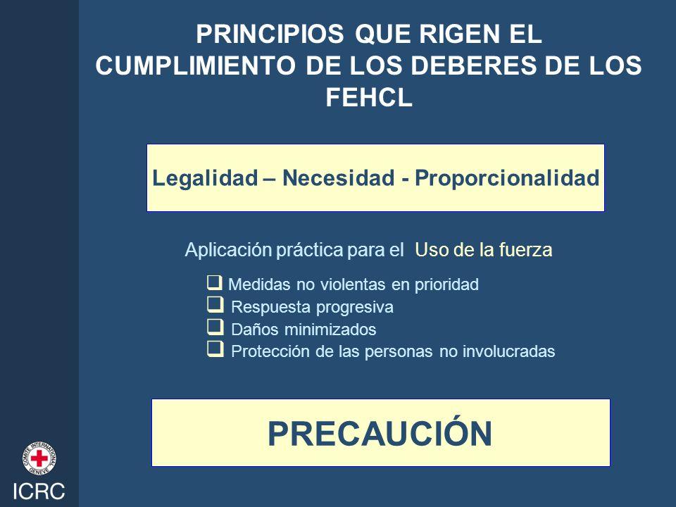 PRINCIPIOS QUE RIGEN EL CUMPLIMIENTO DE LOS DEBERES DE LOS FEHCL Aplicación práctica para el Uso de la fuerza Medidas no violentas en prioridad Respue
