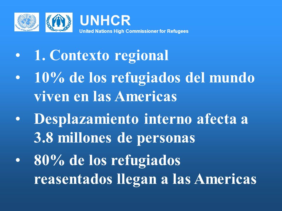UNHCR United Nations High Commissioner for Refugees Muchas gracias www.acnur.org www.unhcr.org