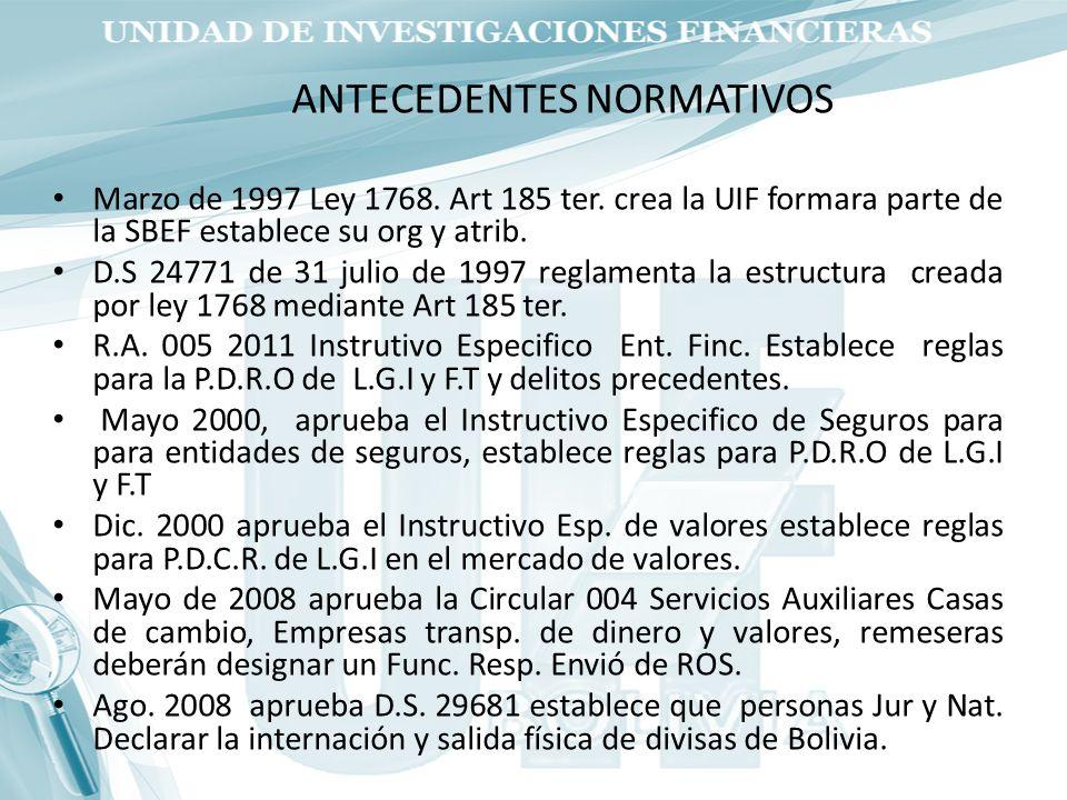 Marzo de 1997 Ley 1768. Art 185 ter. crea la UIF formara parte de la SBEF establece su org y atrib. D.S 24771 de 31 julio de 1997 reglamenta la estruc