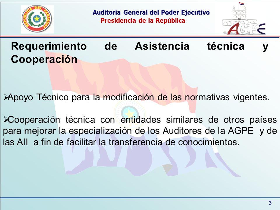 3 Auditoría General del Poder Ejecutivo Presidencia de la República Apoyo Técnico para la modificación de las normativas vigentes.