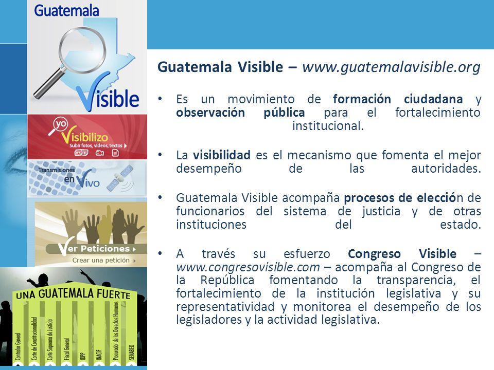 Guatemala Visible – www.guatemalavisible.org Es un movimiento de formación ciudadana y observación pública para el fortalecimiento institucional. La v