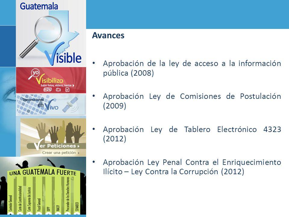 Avances Aprobación de la ley de acceso a la información pública (2008) Aprobación Ley de Comisiones de Postulación (2009) Aprobación Ley de Tablero El