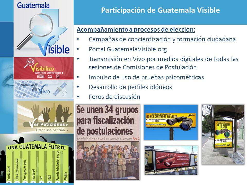 Participación de Guatemala Visible Acompañamiento a procesos de elección: Campañas de concientización y formación ciudadana Portal GuatemalaVisible.or