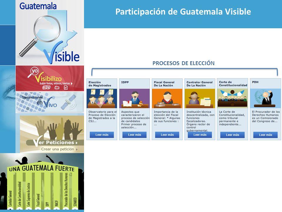 Participación de Guatemala Visible Impulso a Ley del Tablero Electrónico en el Congreso Seguimiento individual a los diputados Foro sobre la importancia de los Mecanismos de Transparencia en la Gestión Parlamentaria, Iniciativa 4323