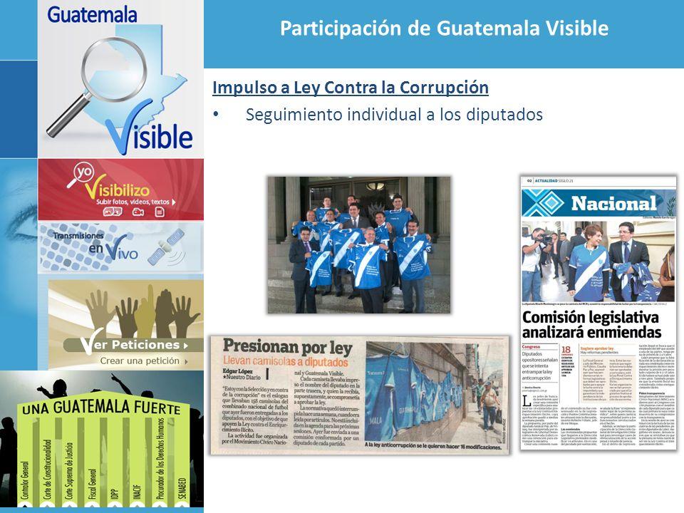 Participación de Guatemala Visible Acuerdo de Colaboración con el Congreso 1 Lanzamiento CongresoVisible.com Transmisión en vivo de todas las sesiones del Congreso Acuerdo de Colaboración con el Congreso 2 Fortalecimiento de herramientas de transparencia con énfasis en sistemas de información, página Web del Congreso y Tablero Electrónico