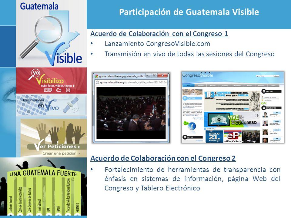 Participación de Guatemala Visible Acuerdo de Colaboración con el Congreso 1 Lanzamiento CongresoVisible.com Transmisión en vivo de todas las sesiones