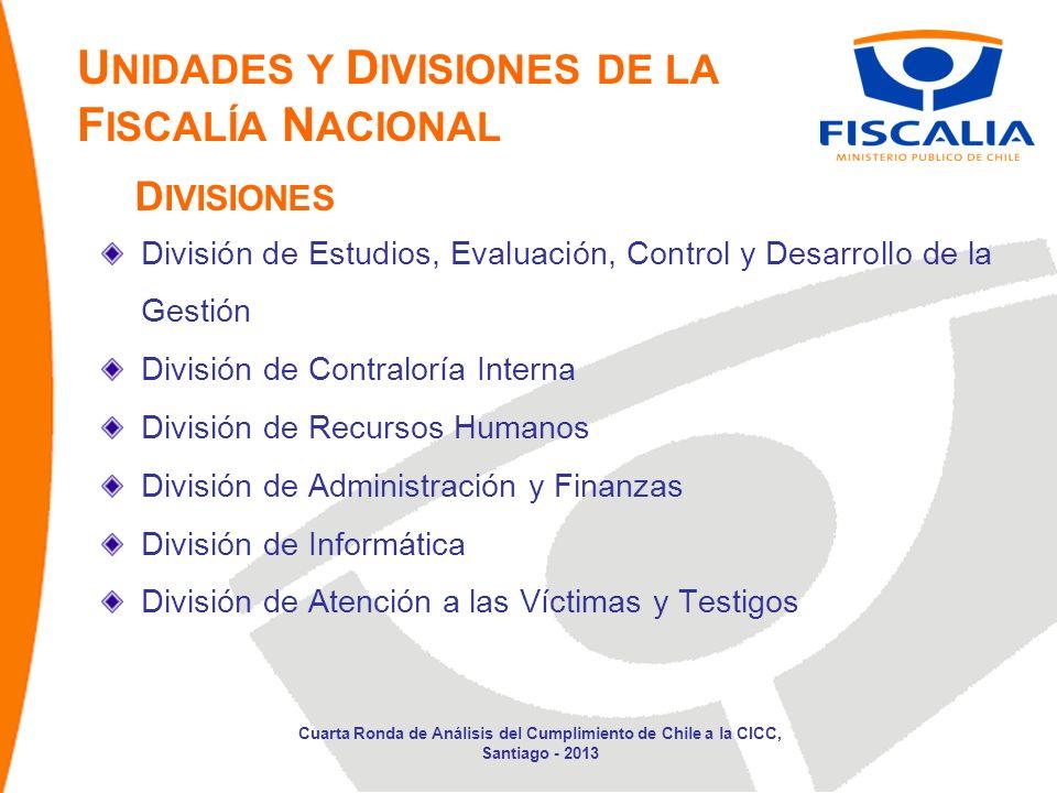 U NIDADES Y D IVISIONES DE LA F ISCALÍA N ACIONAL División de Estudios, Evaluación, Control y Desarrollo de la Gestión División de Contraloría Interna División de Recursos Humanos División de Administración y Finanzas División de Informática División de Atención a las Víctimas y Testigos D IVISIONES Cuarta Ronda de Análisis del Cumplimiento de Chile a la CICC, Santiago - 2013
