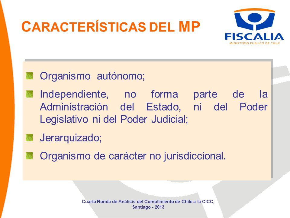 C ARACTERÍSTICAS DEL MP Organismo autónomo; Independiente, no forma parte de la Administración del Estado, ni del Poder Legislativo ni del Poder Judicial; Jerarquizado; Organismo de carácter no jurisdiccional.